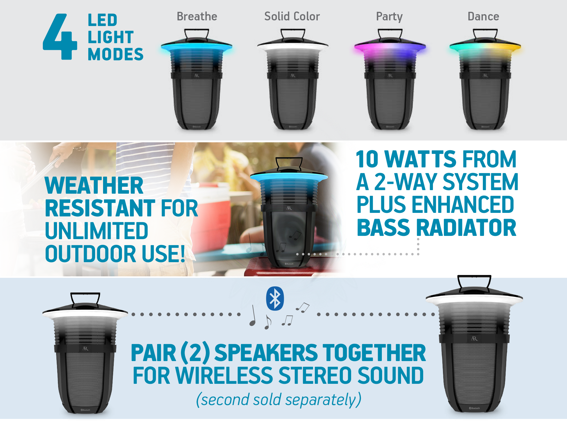 Multiple Led Light Modes Area Lighting Breath And Beat